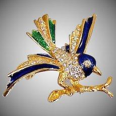 Vintage Rhinestone Bluebird Brooch. Blue Enamel Songbird Pin. Rhinestone Blue Bird Brooch.