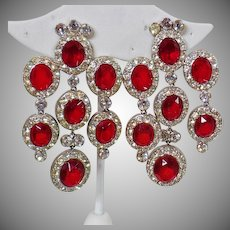 Vintage Faux Ruby and Diamond Shoulder Sweeper Earrings. Ruby Red and Clear Rhinestone Showstopper Earrings.
