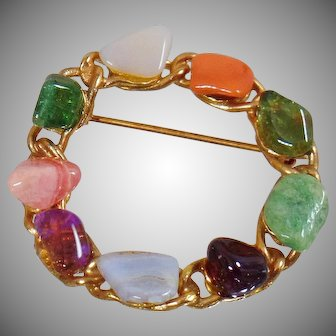Vintage Jade, Rhodochrosite, Garnet, Amethyst, Onyx Circle Brooch. Natural Stone Genuine Garnet Brooch. Natural Stone Pin.