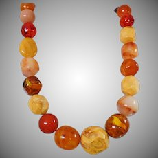 Vintage Brown Swirl Amber Lucite Necklace. Large Boulder Bead Faux Amber Necklace. Bold Statement Piece. Bead Necklace.