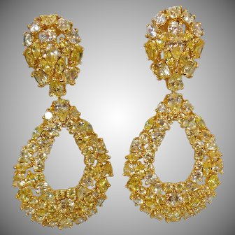Vintage Citrine Yellow and Clear Rhinestone Earrings. Bold Gold Plated Showstopper Earrings. Doorknocker Earrings.