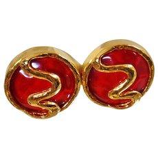Vintage Rare Les Bernard Burnt Orange Squiggle Earrings. Gold Les Bernard Dangling Earrings. Amber Orange Designer Earrings