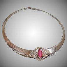 Vintage Omega Rhinestone Necklace. Egyptian Revival. Pink AB Rhinestones Silver Omega Choker Necklace.