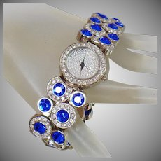 Vintage Silver Sapphire Diamond Ladies Watch. Suzanne Somers. Elegant Blingy Faux Blue Sapphire and Faux Diamond Women's Watch.