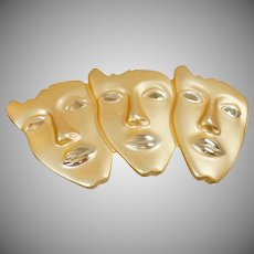 Vintage Brushed Gold 3 Faces Brooch. Large Modernist Brushed Gold Faces Pin. Three Faces Brooch.