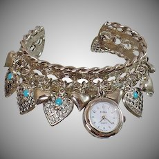 Vintage Silver Charm Ladies Watch. Women's Turquoise Blue Heart Charms Watch. Silver Cuff Charm Watch.