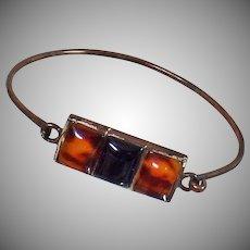 Vintage Amber Silver Bracelet. Sterling Silver Cuff Bracelet with Amber. 925 Silver Bracelet.
