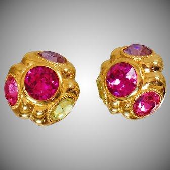Vintage Ciner Pink Purple Green Rhinestone Earrings. Glass Pink, Green and Purple Rhinestone Earrings by Ciner.