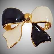 Vintage Large Joan Rivers Black White Bow Ribbon Brooch. Rare Black Cream White Enamel Bow Pin. Joan Rivers Bow Brooch