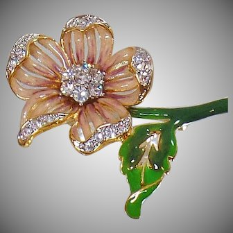 Vintage Nolan Miller Pink Rhinestone Flower Brooch. Nolan Miller Statement Piece Rhinestone Flower Pin. Pink Enamel Flower Brooch.