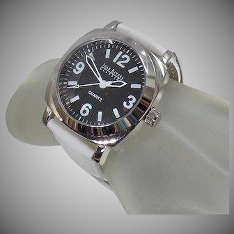 Vintage Joan Rivers Black White Watch. Women's Black White Leather Band Watch. White Joan Rivers Watch.