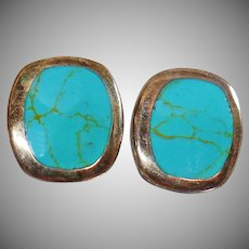 Vintage Mexican Silver Turquoise Earrings. ATI 925 Mexico. Large Sterling Silver Turquoise Earrings.