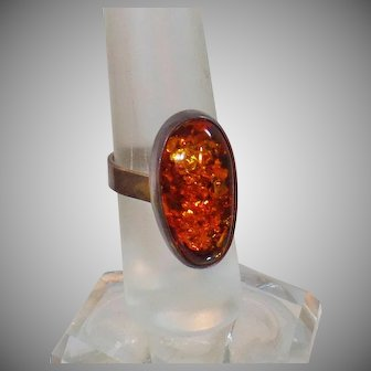 Sterling Silver Amber Ring. Large Oval Genuine Amber 925 Silver Ring.