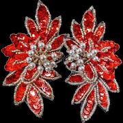 Large Clip Earrings. Vintage Earrings. Red Sequin Earrings. Shoulder Sweeper Earrings. Ruby Red and Silver Showstopper Earrings.