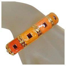 Bangle Bracelet. Nolan Miller Jewelry. Melon Orange Peach Enamel Rhinestone Bracelet. Nolan Miller Bracelet.Rhinestone Bracelet. waalaa.