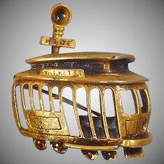 Vintage Brooch. Tortolani Trolley Car Brooch. Book Piece. San Francisco Trolley Car Pin.