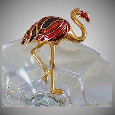 Flamingo Brooch. Large Bird Brooch. Crane Brooch. Large Crane Pin. Enamel Bird Brooch. Vintage Brooch. Vintage Pin.
