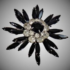 Judy Lee Jewelry. Vintage Brooch. Judy Lee Brooch. Silver Clear Black Rhinestone Pin. Starburst Rhinestone Brooch. Snowflake Brooch. waalaa