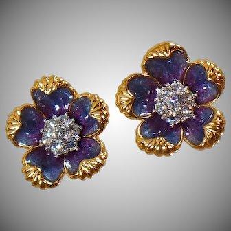 Nolan Miller Earrings. Large Clip Earrings. Vintage Earrings. Rhinestone Earrings. Enamel Earrings. Jewelry for Women. waalaa