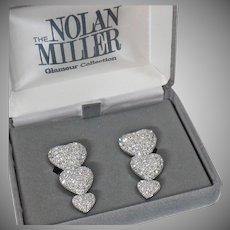 Large Clip Earrings. Nolan Miller Earrings. Heart Earrings. Vintage Earrings. Rhinestone Earrings. Diamond. Earrings for Women. waalaa