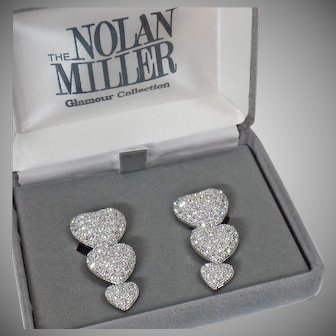 Large Clip Earrings. Nolan Miller Earrings. Heart Earrings. Vintage Earrings. Rhinestone Earrings. Diamond. Earrings for Women. waalaa