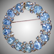 Warner Brooch. Rhinestone Brooch. Vintage Brooch. Jewelry for Brides. Aquamarine Brooch. Wreath Brooch. Jewelry for Women. waalaa