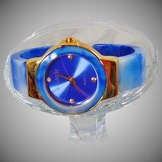 Ladies Watch. Joan Rivers Blue Sky Watch. Women's Blue White Marbled Lucite Watch. Blue Joan Rivers Watch. waalaa.