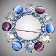 Cat's Eye Brooch. Blue Rhinestone Brooch. Vintage Brooch. Juliana Style Brooch. Jewelry for Brides. Jewelry for Women. waalaa.