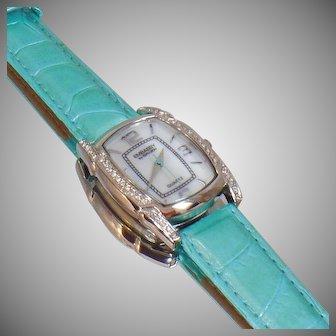 Ladies Watch. Gruen Rhinestone Watch. Women's Swarovski Rhinestone Watch. Aqua Blue Green Gruen Embassy Watch. Jewelry for Women. waalaa