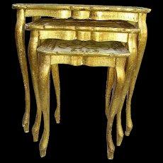 RESERVED -Vintage Italian Florentine Wood Nesting Tables Shabby Chippy