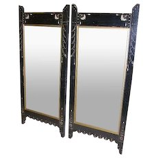 Antique Victorian Eastlake Ebony Carved Picture Frames/Mirrors Pair