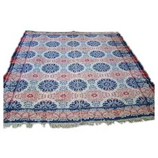 Antique c.1860  Red and Blue Birds Jacquard Woven Coverlet