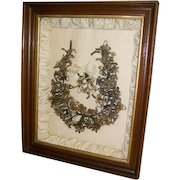 Fabulous Huge Antique Victorian Hair Mourning Wreath Framed 1800's