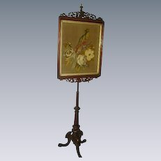 "Superb Antique English 19th c. Beaded Needlepoint Pole Firescreen/Victorian Stumpwork/ 73"" Tall"