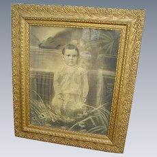 Fabulous Antique Victorian Gesso Large Frame with Victorian Child Portrait