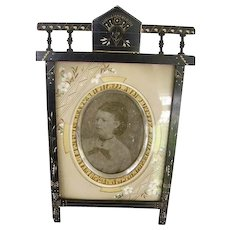 Fabulous Antique Victorian Eastlake Picture Frame,HP Mat,Easel Stand