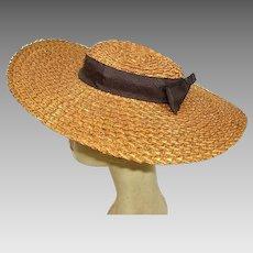 Vintage True Edwardian/Victorian Straw Wide Brim Ladies Hat