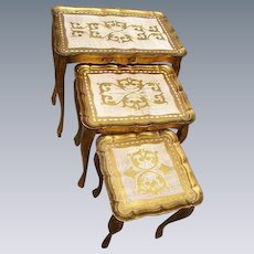 Reserved -Vintage Italian Florentine Wood Nesting Tables(3)