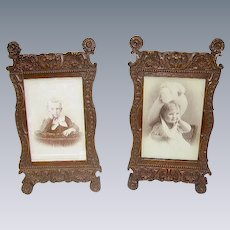 Antique Victorian Picture Frames Pair/Carved Wood Victorian Frames