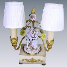 French Porcelain Flowers Dore Bronze Boudoir Lamp/Courting Couple