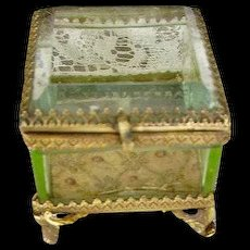 Antique French Vaseline Glass Casket Ring Box Trinket Box Ormolu Casket
