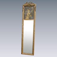 Exquisite Antique French Trumeau Mirror Barbola Gesso Rose Swags/Lady Portrait