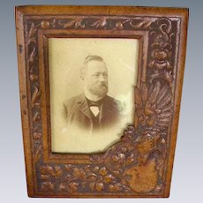 Antique Victorian Tooled Picture Frame/ Hat/Shield/ Feathers
