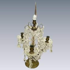 Gorgeous Vintage French Girandole Candelabra Lamp Table Chandelier Prisms