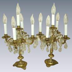 Vintage Spanish Brass Prisms Candelabra Lamps/Table Chandeliers