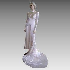 Vintage 1930s Liquid Satin Wedding Gown/ Waxbuds Tiara Crown/Old Hollywood Glam