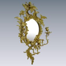 Exquisite French Dore Bronze Cherub Wall Sconce Candelabra Mirror