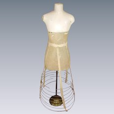 Antique French 1800's Child Dress Form Mannequin Display:Victorian Child Wire Hoop Skirt