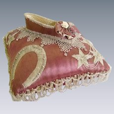 Rare Stunning 1800's French Victorian Glass Beaded Rose Satin Marriage Cushion:Beaded Horseshoes:French Bride