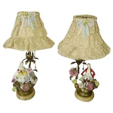 ON HOLD -Early Exquisite Pair French Porcelain Flowers Ormolu Bronze Boudoir Lamps/French Net Lace Shades